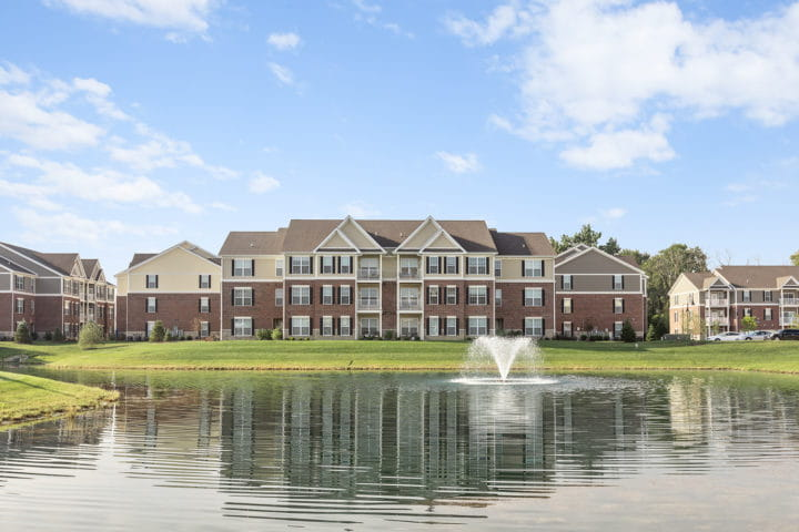 Flats at 146 buildings and pond