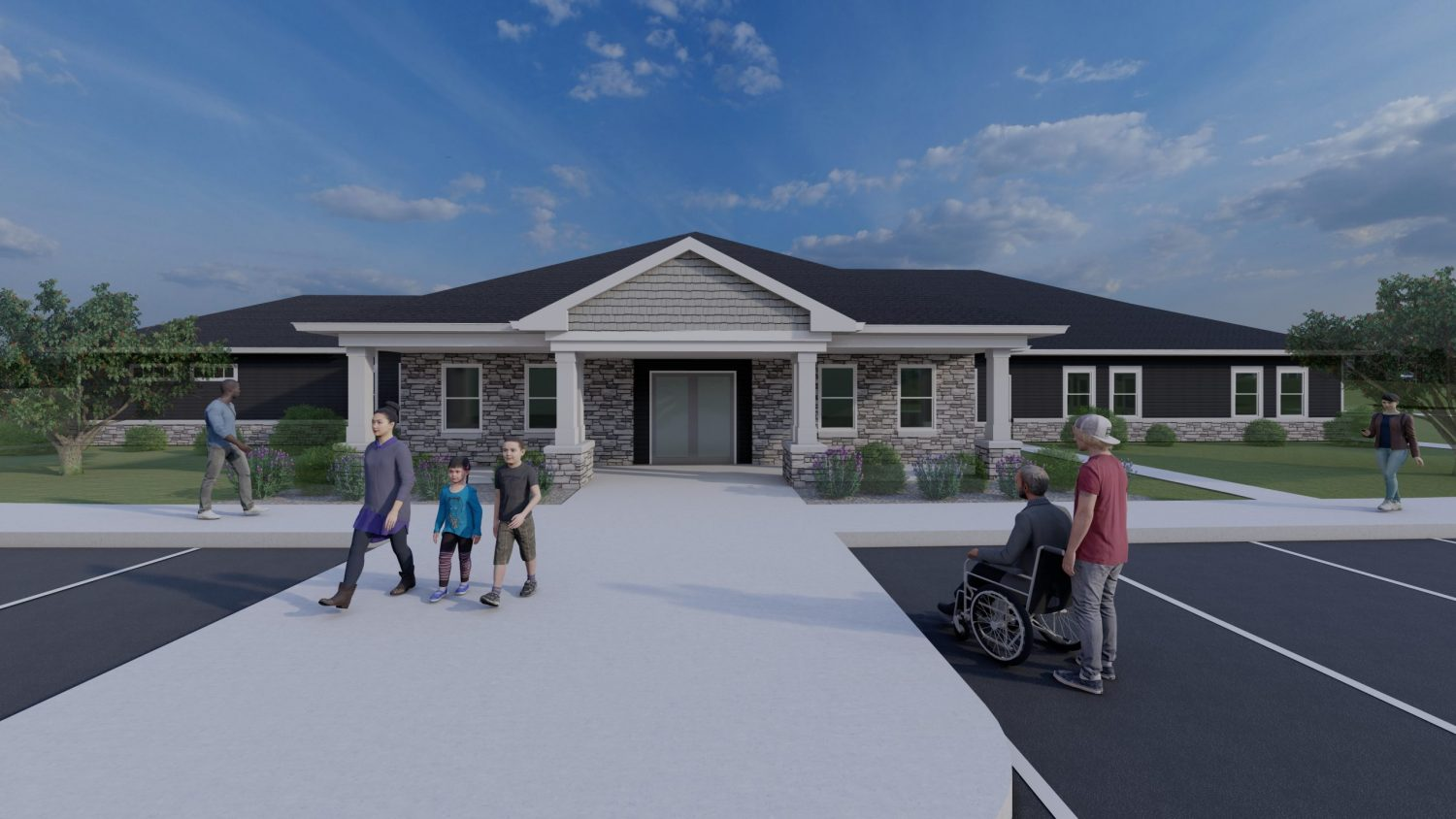 clubhouse rendering with people